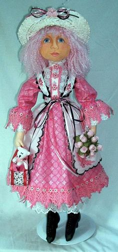 """Lady Ragalia A 20"""" Rag doll with painted shoes, articulated fingers, flat face"""