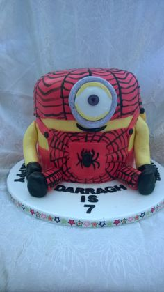 Minion Spiderman Stuart  #lorsyscakesandmore #minion # minioncakes #spiderstuart