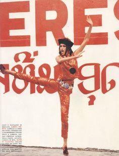 """Susan Holmes """" Esotica """" by Ellen von Unwerth Vogue Italia 1992 Susan Holmes, Oriental Fashion, Oriental Style, Dragon Girl, Ellen Von Unwerth, Christian Lacroix, Vogue Magazine, Editorial Fashion, Supermodels"""