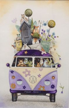 Rare Original Gary Walton Watercolour Painting with Certificate, Volkswagen Van