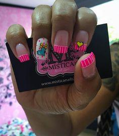 Viviana Ruby Nails, Neon Nails, Pink Nails, Birthday Nail Art, Beauty Brushes, Finger, Cute Nail Art, Flower Nails, Nail Art Galleries