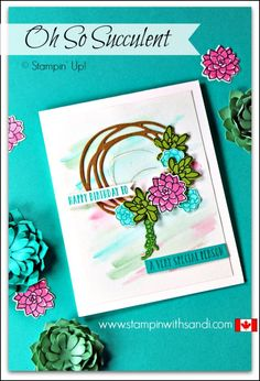 Oh So Succulent wreath card by sandi at stampinwithsandi.com