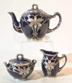 For the kitchen COBALT PORCELAIN TEA POT , SUGAR & CREAMER