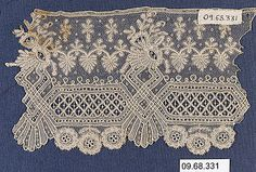 Needle Lace Fragment Date: 19th century Culture: Belgian (Brussels) Dimensions: L. 5 x W. 3 1/4 inches 12.7 x 8.3 cm Classification: Textiles-Laces-Needlepoint Accession Number: 09.68.331