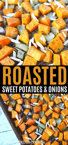 Sweet Oven Roasted Sweet Potatoes and Onions combined in simple thyme seasoning and topped wih optional almond slivers, a sweet and savory side dish recipe Onion Recipes, Ham Recipes, Turkey Recipes, Side Dish Recipes, Casserole Recipes, Chicken Recipes, Dinner Recipes, Healthy Recipes, Avocado Recipes