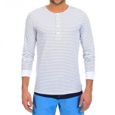 LONG-SLEEVED STRIPED COTTON T-SHIRT Mitch Stripe cotton Serafino T-shirt in a striped pattern featuring a round neck and long sleeves with cuffs. COMPOSITION: 100% COTTON. Our model wears size L, he is 189 cm tall and weighs 86 Kg.
