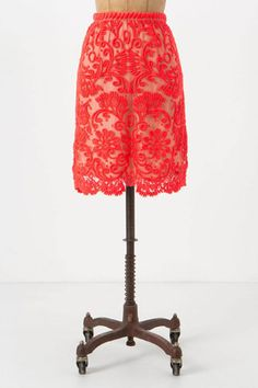 Embroidered Lace Pencil Skirt by Yoana Baraschi from Anthropologie. Need to find more reasons to wear this skirt. Anthropologie, Vogue, Embroidered Lace, Dress Me Up, Lace Skirt, Coral Skirt, Neon Skirt, Pretty Outfits, Spring Summer Fashion