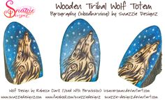 Tribal Wolf Totem Pyrograph (Wood Burning) by snazzie-designz Wolf Totem, Tribal Wolf, Pyrography, Wood Burning, Handmade Crafts, Deviantart, Artwork, Work Of Art, Auguste Rodin Artwork