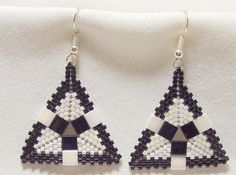 Black and White Peyote Stitched Tila and Seed by SkeeterStudios, $15.00