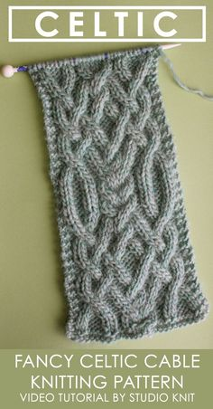 Learn How to Knit this Fancy Celtic Cable Pattern by Studio Knit with FREE written and chart pattern, along with video tutorial.