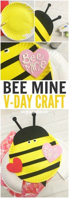 Bee Mine Valentines Day Paper Plate Craft - Easy Peasy and Fun- Bee Mine Valentines Day Paper Plate Craft – Easy Peasy and Fun Lily Sophia Photography Valentine Activities, Valentine Crafts For Kids, Classroom Crafts, Preschool Crafts, Kids Crafts, Kindergarten Crafts, Bee Crafts, Paper Plate Crafts For Kids, Crafts