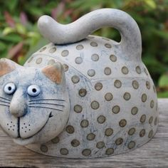 Ceramic Pottery, Ceramic Art, Biscuit, Clay Cats, Ceramic Animals, Cat Doll, Pottery Designs, Whimsical Art, Handmade Pottery