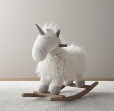 Wooly Plush Animal Rocker - Unicorn