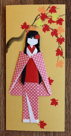 Origami Japanese postcard, Japanese kimono paper, Japanese spring, paper art, oriental art, Japanese Origami Doll, postcard 039 by Orientalgallery on Etsy