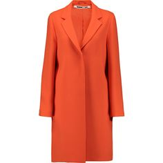 McQ Alexander McQueen Crepe coat ($400) ❤ liked on Polyvore featuring outerwear, coats, bright orange, red coats, mcq by alexander mcqueen and orange coat