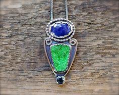 Blue sapphire & Uvarovite druzy necklace w london blue topaz. Sterling silver natural green druzy necklace. Rose cut blue sapphire necklace