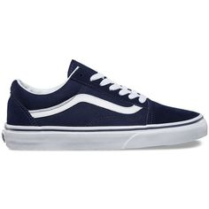 Vans Old Skool ($60) ❤ liked on Polyvore featuring shoes, sneakers, blue, cap toe shoes, low profile sneakers, laced shoes, cap toe sneakers and lace up sneakers