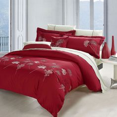 3-Piece Pina Embroidered Duvet Cover Set in Red - Beyond the Rack