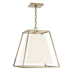 Kyle Aged Brass Four Light Lantern Pendant With White Faux Silk Shade Hudson Valley Lanter