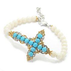 """143-752 - Gems en Vogue 7.5"""" Sleeping Beauty Turquoise & Gem Sideways Cross Bracelet"""