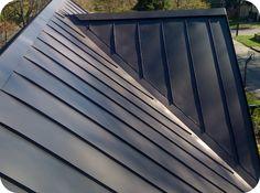 Dark grey, standing seam metal roof.