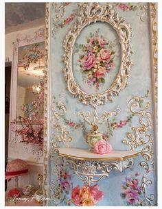 shabby chic wall art | Shabby chic wall! I need this in my guest bedroom @Martha Licatino