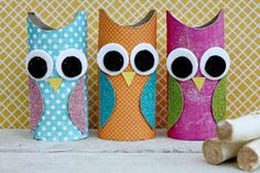 Toilet Paper Roll Owls - Toilet Paper Roll Crafts For Kids Kids Fall Crafts, Owl Crafts, Easter Crafts, Paper Towel Roll Crafts, Paper Craft, Toilet Roll Craft, Paper Owls, Diy Blog, Crafty Kids