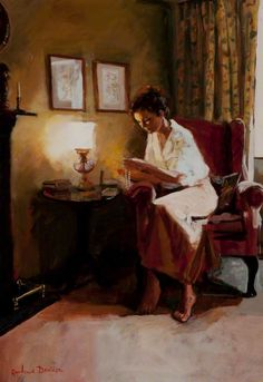 Lady Reading a Book by Lamplight Rowland Davidson. #reading #books