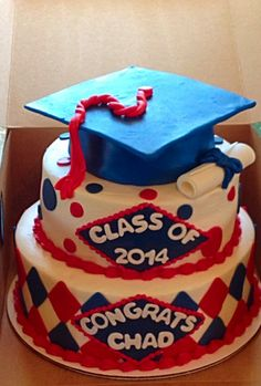 Graduation cake; red blue; tiered