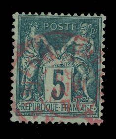 TYPE SAGE - 1881 - N°75 5c VERT (N SOUS U) CAD ROUGE (ROSE) DES IMPRIMÉS - TB in Timbres, France, France: oblitérés | eBay