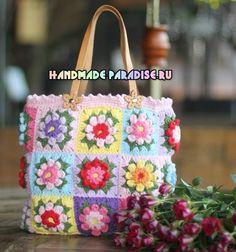 """Magnifique sac aux carrés Granny fleuris , trouvé sur le site de """" handmade-paradise.ru """" , avec ses grilles gratuites ! Je souhaite un bon crochet à toutes celles qui voudraient réaliser ce magnifique sac fleuri et coloré ! Mes ouvrages en vente : ♥..."""