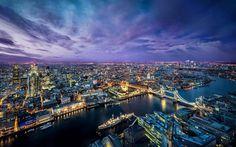London, night, metropolis, Thames, Tower Bridge