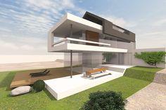 Modernes Wohnhaus mit Satteldach, Entwurf für ein schmales Grundstück mit…