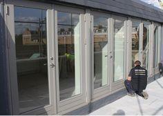 New engineered wood French doors 'Stone Grey' Window Frame Colours, Grey Window Frames, Grey Windows, House Windows, Windows And Doors, Aluminium French Doors, Grey Doors, External Doors, Patio Doors