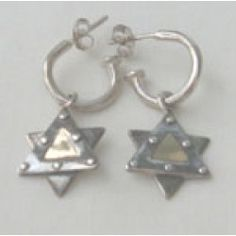 These beautiful Star of David earrings have gold center. The star dangles from small sterling hoop. The earring is hand crafted by an Israeli artist and measures x Jewish Jewelry, Stainless Steel Necklace, Menorah, Star Of David, Hamsa, Three Dimensional, Gold Earrings, Israel, Hoop