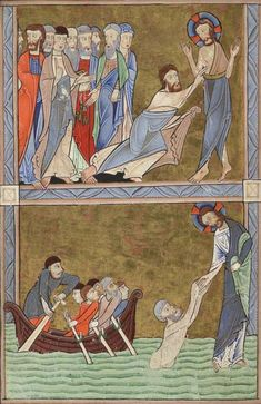 Glasgow University Library. The Hunterian Psalter. England: c. 1170. Sp Coll MS Hunter U.3.2 (229). folio 13v: miniatures depicting doubting Thomas (upper compartment) and Peter reaching out for Christ on the sea of Tiberias (lower compartment)
