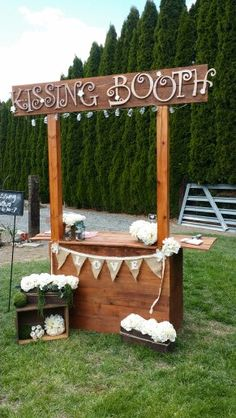 Create your own kissing booth to capture all the love at your wedding. For more decoration ideas, check out our board. Suprise Wedding, Wedding Kiss, Wedding 2017, Fall Wedding, Rustic Wedding, Dream Wedding, Wedding Things, Wedding Stuff, Wedding Ideas