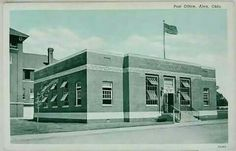 Vintage postcard of my  Mom's purchased from Montfort's Drug Store in Alva , Oklahoma  . United States Post Office with the Old Alva City Hall / Fire Dept in the background .