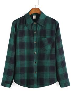 Lapel Plaid Checked Pocket Green Blouse
