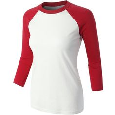 LE3NO PREMIUM Womens Casual Contrast Raglan 3/4 Sleeve Baseball Shirt ($15) ❤ liked on Polyvore featuring tops, t-shirts, 3/4 sleeve baseball t shirt, baseball three quarter sleeve shirts, raglan sleeve t shirts, 3/4 sleeve tops and raglan baseball shirts