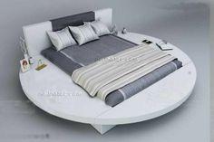 Round Style Storage Ottoman Gas Lift Up Bed Frame Luxury