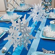 Glitter Snowflake Centerpieces - Oriental Trading Make your winter wonderland come to life with these beautiful Glitter Snowflake Centerpieces! Perfect for a winter-themed event, these sparkly party d . Winter Birthday Parties, Frozen Themed Birthday Party, Birthday Party Decorations, Frozen Birthday Centerpieces, Frozen Table Decorations, Winter Party Decorations, Frozen Party Favors, 2nd Birthday, Frozen Candy Table