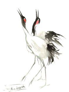 Japaneese Crane two cranes original watercolor by ORIGINALONLY
