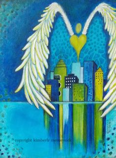 Acrylic painting #kimberlymccormick #artbykimberly #angelart #cityscape #houstonartist #womenartists #propheticartist #christianpainting #contemporarychristianart #spiritualart #acrylicpainting #etsyshopowner #etsyartist #heartart #worshipart #propheticart #healingart #acrylicartist