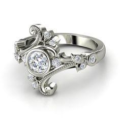 Round Diamond 14K White Gold Ring with Diamond | Flamenco Ring | Gemvara