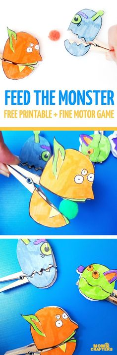 """Make these adorable monster clothespin puppets using the free printable template - and then play """"Feed the Monster"""" - a fun fine motor activity and game to help improve pincer grasp! You'll love this paper craft and free printable activity for kids. It's also great for Halloween crafts but fun for year-round too."""