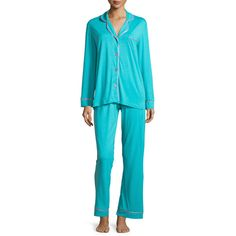 Cosabella Bella Contrast-Trim Long-Sleeve Pajama Set (15190 RSD) ❤ liked on Polyvore featuring intimates, sleepwear, pajamas, blue pajamas, pink sleepwear, cosabella sleepwear, pink jersey and cosabella pajamas