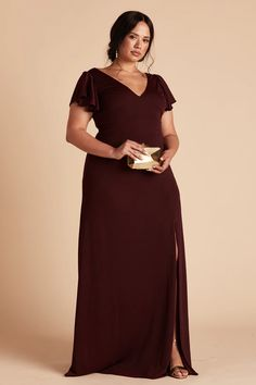 All Bridesmaid Dresses | Birdy Grey Burgundy Bridesmaid Dresses Long, Affordable Bridesmaid Dresses, Bridesmaid Dresses Plus Size, Wedding Dresses, Slit Dress, Crepe Dress, Red Gowns, Plus Size Beauty, Crepe Fabric