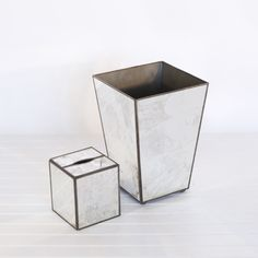 Antiqued mirror wastebasket & tissue box cover