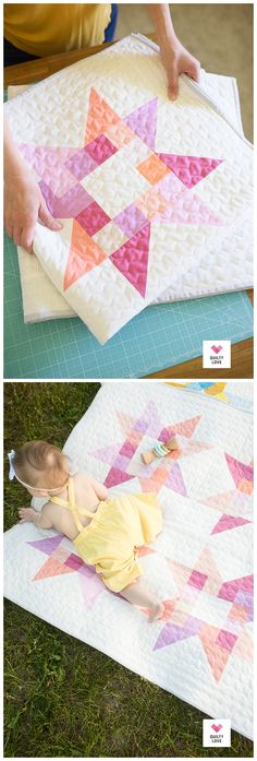 Quilty Stars Quilt - The solid baby ones - Quilty Love.  Cute little scrappy star baby quilt pattern.  #starquilt #babyquilt #babystarquilt   #scrappyquilt #scrapquilt #solidsquilt #scrapfriendlyquiltpattern Star Quilt Patterns, Stitch Patterns, Quilt Sizes, Quilting Tutorials, Baby Size, Quilt Making, Baby Quilts, New Baby Products, Triangle